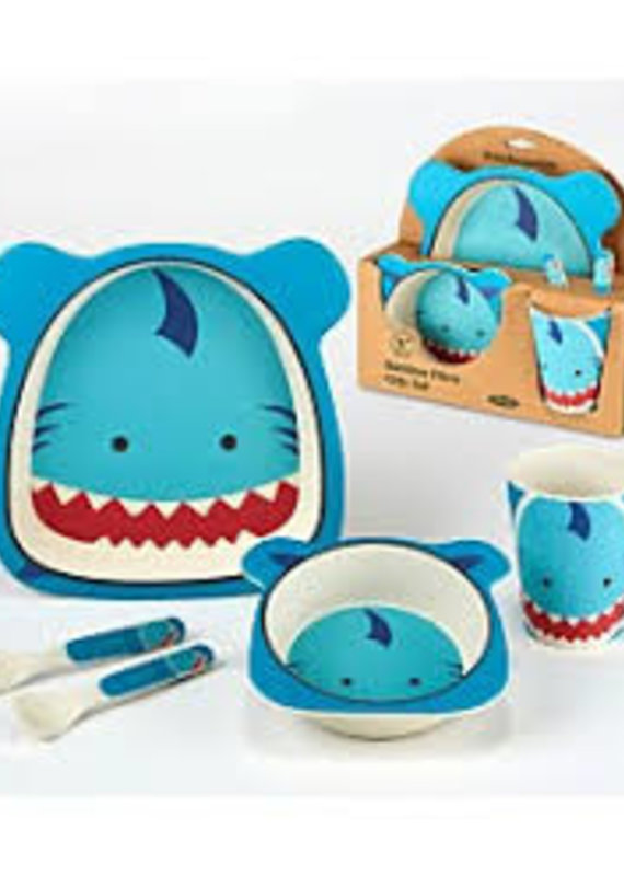 Certified International Corp. Shark Bamboo Fiber 5pc Kids Dinnerware Set