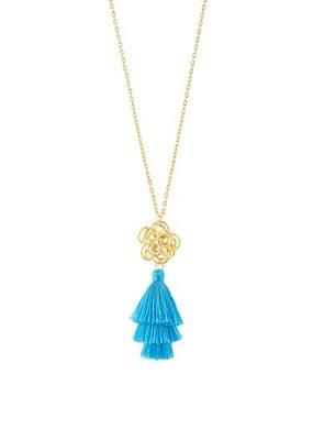 Susan Shaw Open Flower Tassel Necklaces-Blue