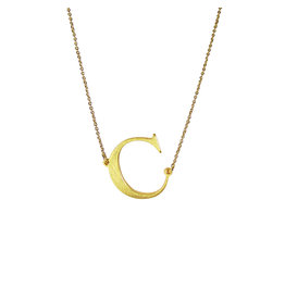 "Kenze Penne Circle Initial Necklace-""C"""
