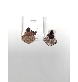 J. S. Collections Rose Gold Lazer Drop Earring