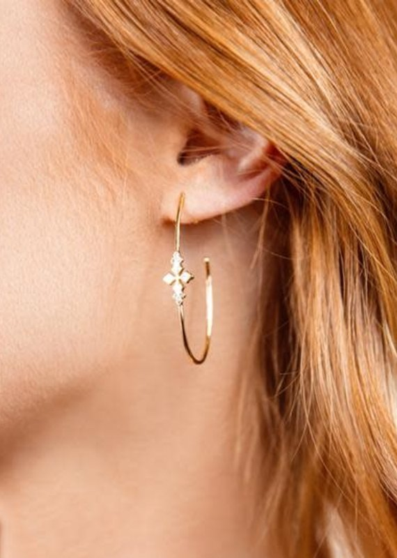 Natalie Wood Designs Believer Cross Hoop Earrings