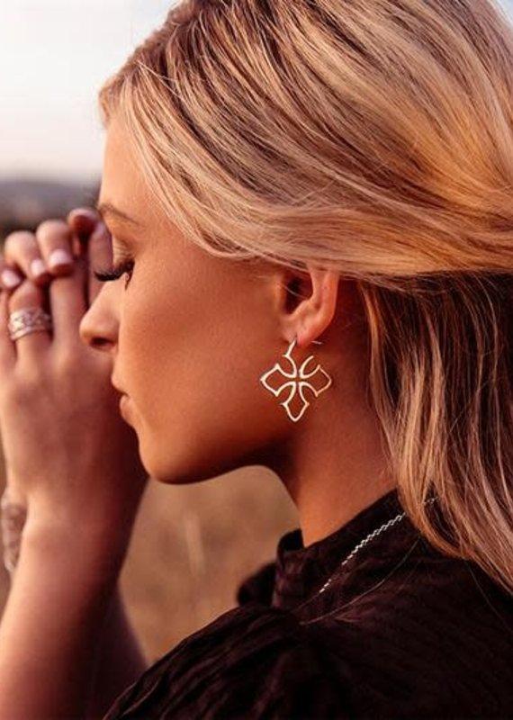 Natalie Wood Designs Grace Cross Hoop Earrings