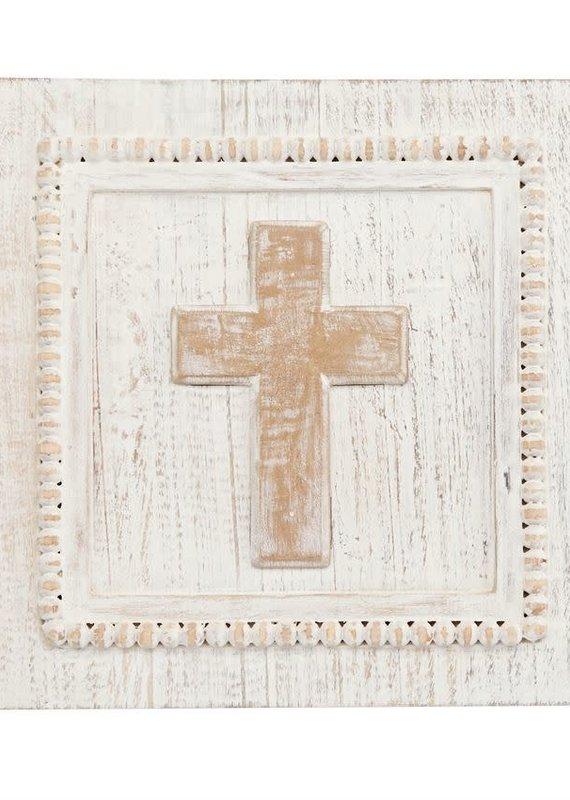 Mud Pie Square Wood Cross Plaque