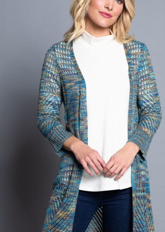 Multiples Multiples Brand  Open Front Multi Color Cardigan
