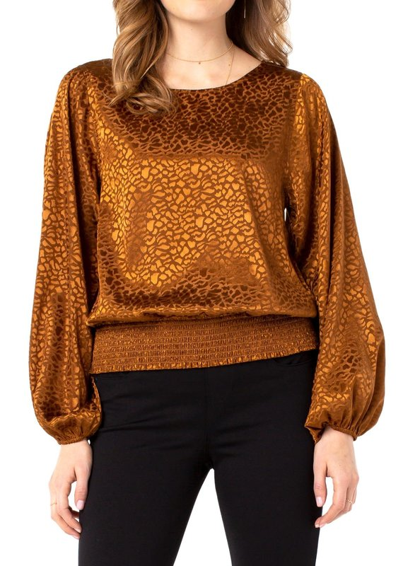 Liver Pool Leopard Print Top w/ Smocked Waistband