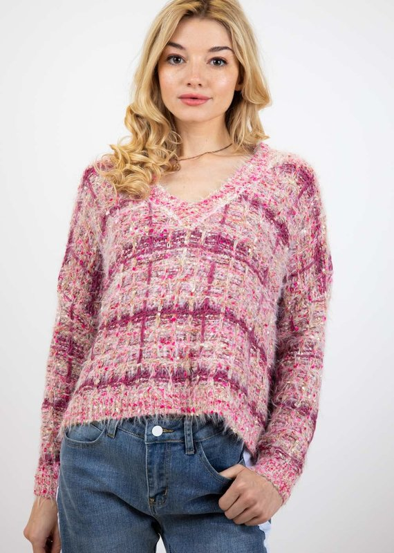 Davi & Dani Pink Textured Sweater