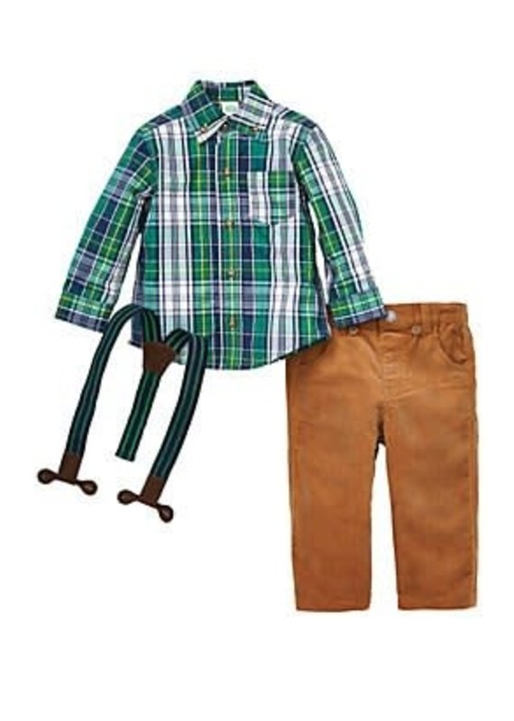 Little Me Green Plaid Woven Pant Set