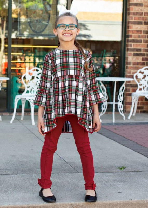 Rufflebutts Juniper Plaid High Low Top