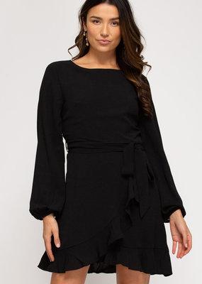 She+Sky Long Sleeve Woven Ruffled Dress