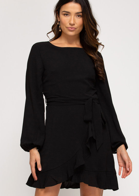 She+Sky Long Sleeve Woven Ruffled Dress