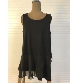 Jerell Clothing Company Black Flounce Sleeveless Tank
