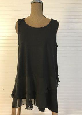 Jerell Clothing Company Black Flounce Sleeveless Tank