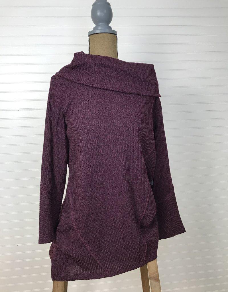 Jerell Clothing Company Cowl Collar Plum Top