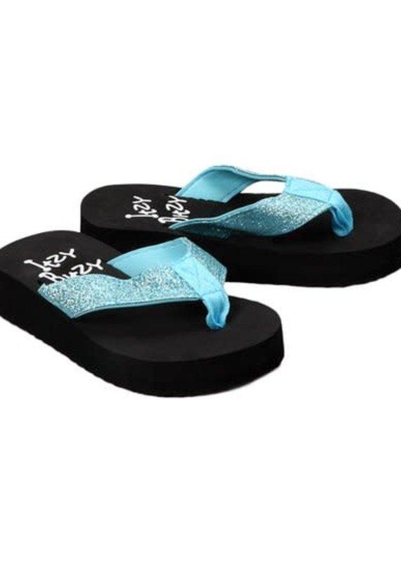 Itzy Bitzy Blue Glitter Flip Flops