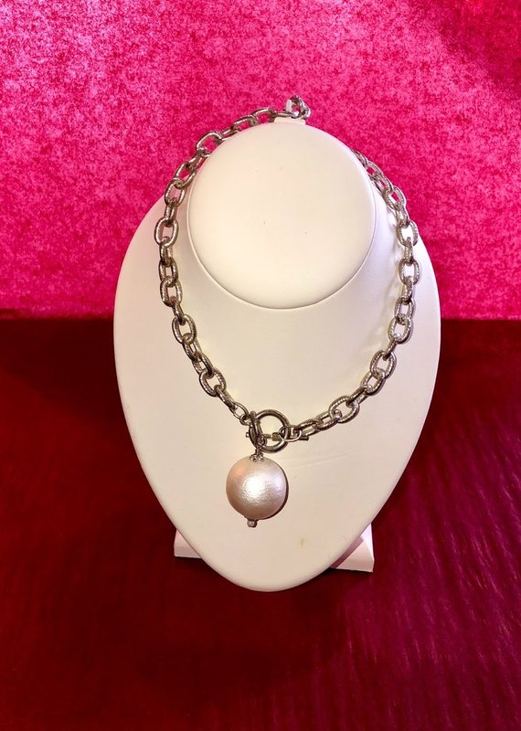 Susan Shaw Silver Toggle Necklace w/ Pearl