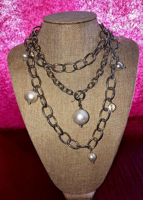Susan Shaw Silver Toggle Pearl/Crystal
