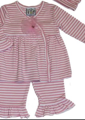 Three Sisters Pink & White Stripe Ruffle Set-18M