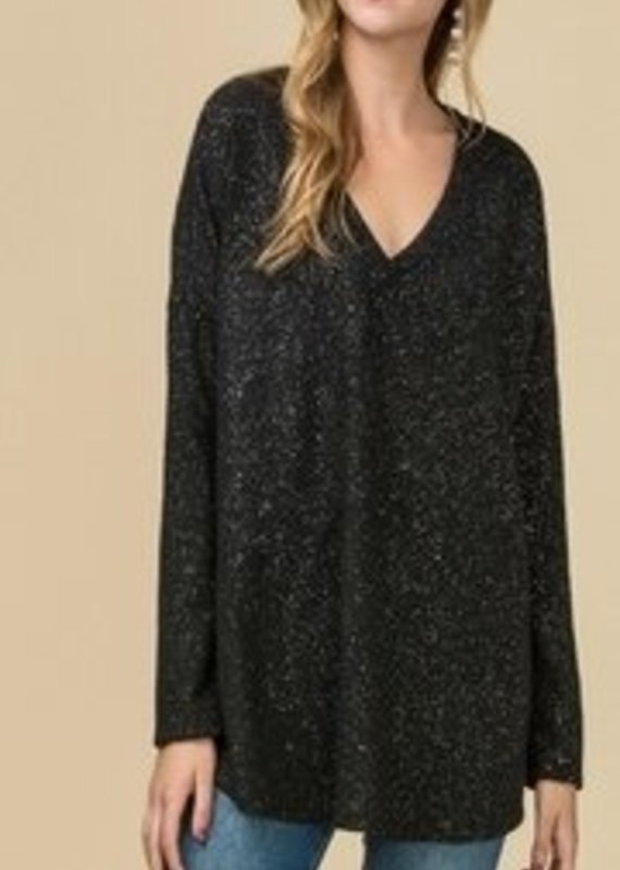 Entro Long Sleeve Top with Glitter