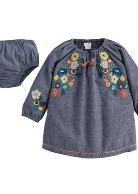 Mud Pie Chambray Embroidered Dress-3/6M