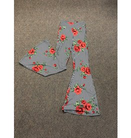 Turquoise Haven Striped Rose Bell Bottoms