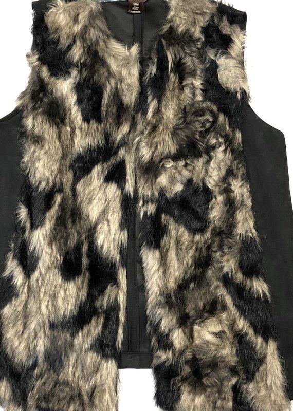 Multiples Faux Fur Front Vest-L