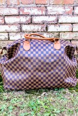 Honey Hush Checkered Weekend Bag-Brown