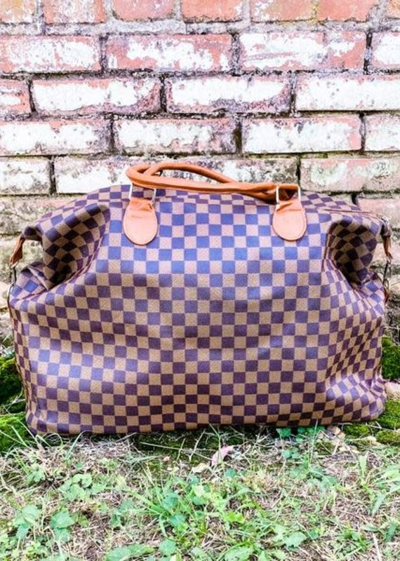 Honey Hush Checkered Weekend Bag-Brown