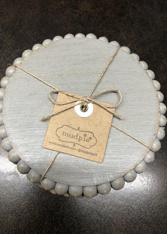 Mud Pie Gray Beaded Coaster Set