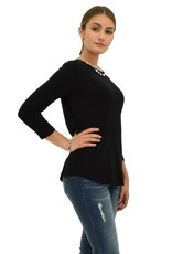 Jerell Clothing Company 3/4 Slv Scoop Neck Solid Top-S-Blk