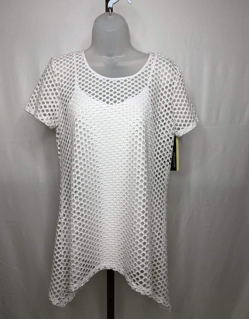 Jerell Clothing Company Cap Sleeve Scoop Neck Solid-White