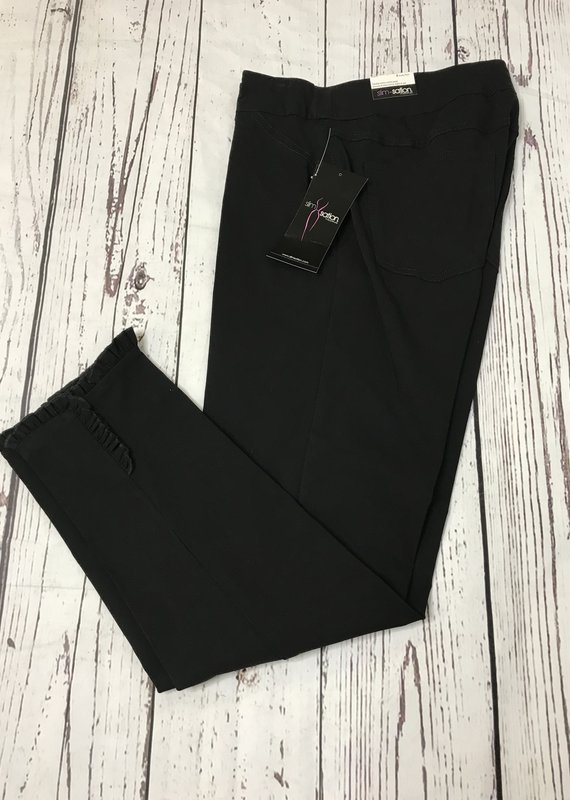 Multiples Wide Band P/O Ankle Pant-Blk