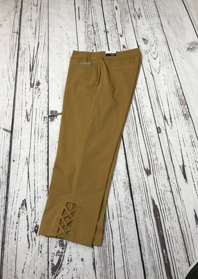 Jerell Clothing Company PullOn Crop Pant w Ladder Strap-Size 10-Tobacco