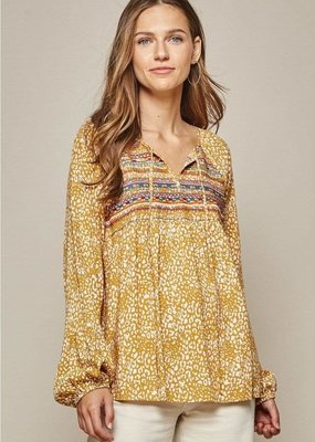 Andree By Unit Leopard Embroidered Top