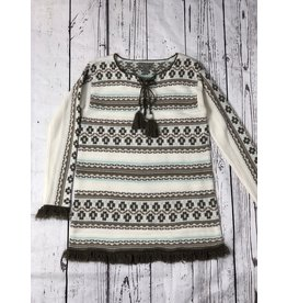 Sharon Young Sportswear Lace Up Tunic Sweater W/ Fringe