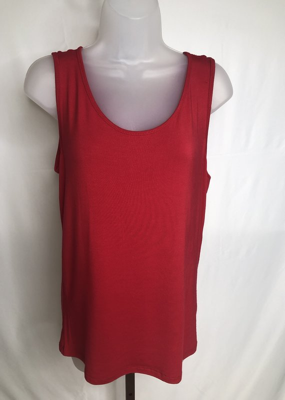 Jerell Clothing Company Double Scoop Neck Solid Tank-M-Garnet