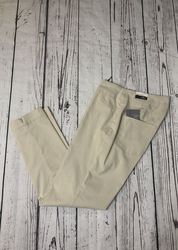 Multiples PullOn Solid Ankle Pant-Sandstone