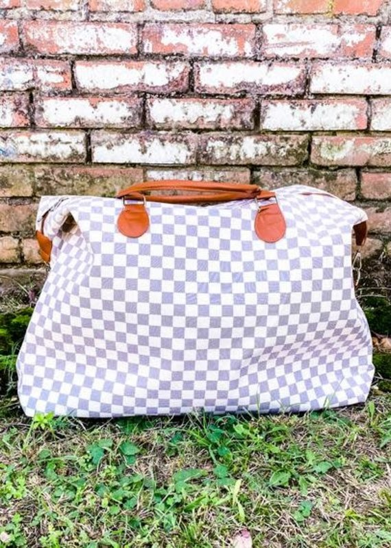 Honey Hush Checkered Weekend Bag-White