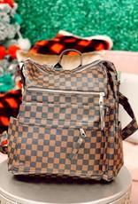 Raining Rustic Checkered Backpack Purse