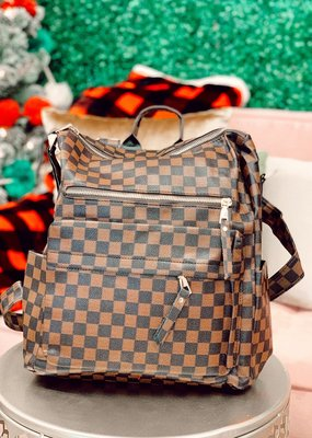 Raining Rustic Checkered Backpack Purse