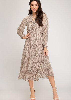 She+Sky Spotted Dress with Neck Ruffle