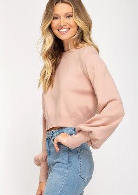 She+Sky Cropped Knit Sweater