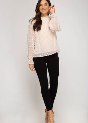 She+Sky Woven Dot Blouse w/ Detailed Sleeves