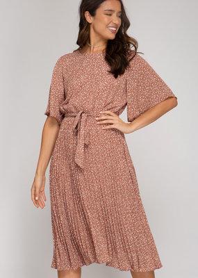 She+Sky Woven Midi Dress with Pleated Skirt