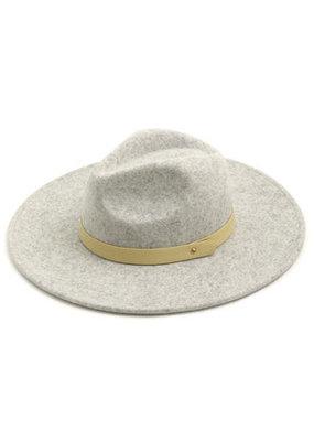 Fame Accessories Grey Wool Felt Flat Brim Fedora Hat