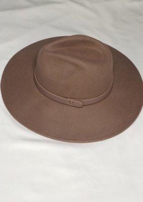 Fame Accessories Mauve Wool Felt Flat Brim Fedora Hat