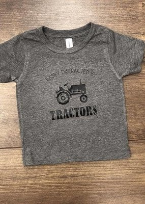 Jena Bug Baby Easily Distracted By Tractors Tee