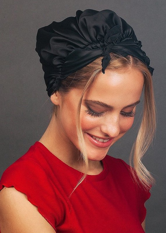 Kitsch Satin Sleep Cap-Black