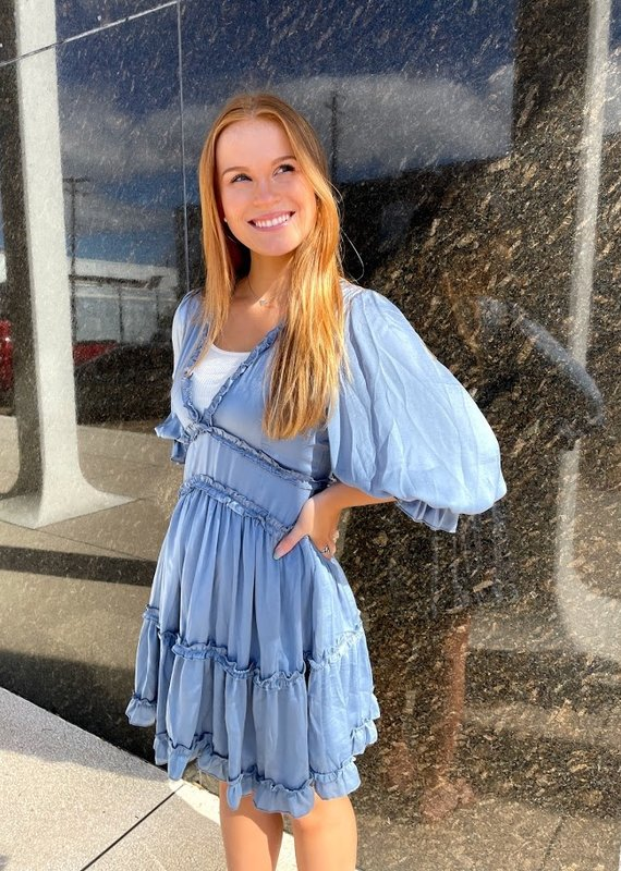 She+Sky 3/4 Sleeve Tiered Ruffle Dress