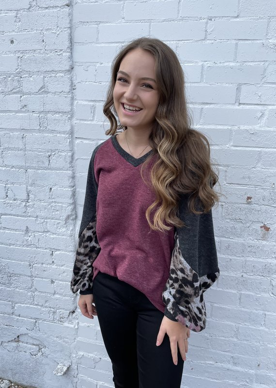 First Love Color Block Long Sleeve Top