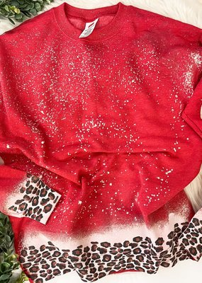 Raining Rustic Leopard Dipped Sweater-Red